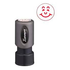 "Xstamper® Pre-Inked Design Stamp, HAPPY FACE Design, 5/8"" Diameter, Red"