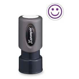 "Xstamper® Pre-Inked Design Stamp, SMILE FACE Design, 5/8"" Diameter, Purple"
