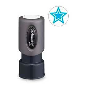 """Xstamper® Pre-Inked Design Stamp, STAR Design, 5/8"""" Diameter, Light Blue"""