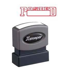 """Xstamper® Pre-Inked Message Stamp, POSTED, Date, 1-5/8"""" x 1/2"""", Red"""