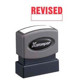 "Xstamper® Pre-Inked Message Stamp, REVISED, 1-5/8"" x 1/2"", Red"