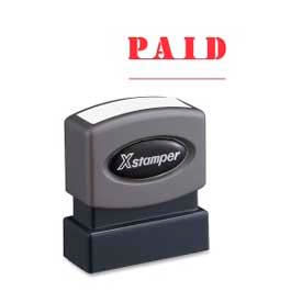 """Xstamper® Pre-Inked Message Stamp, PAID, 1-5/8"""" x 1/2"""", Red"""