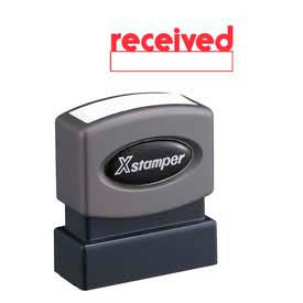 """Xstamper® Pre-Inked Message Stamp, RECEIVED, 1-5/8"""" x 1/2"""", Red"""