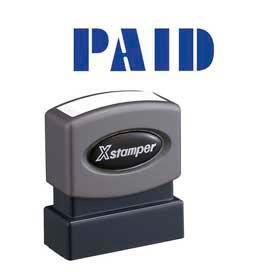 "Xstamper® Pre-Inked Message Stamp, PAID, 1-5/8"" x 1/2"", Blue"