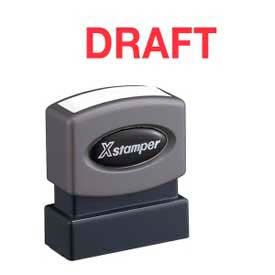 "Xstamper® Pre-Inked Message Stamp, DRAFT, 1-5/8"" x 1/2"", Red"