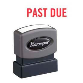 """Xstamper® Pre-Inked Message Stamp, PAST DUE, 1-5/8"""" x 1/2"""", Red"""