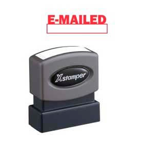 "Xstamper® Pre-Inked Message Stamp, E-MAILED, 1-5/8"" x 1/2"", Red"