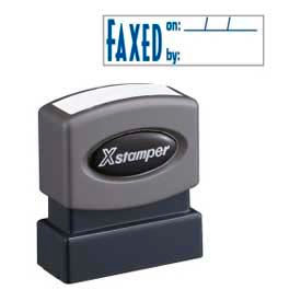 """Xstamper® Pre-Inked Message Stamp, FAXED BY, 1-5/8"""" x 1/2"""", Blue"""