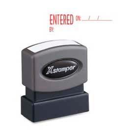 """Xstamper® Pre-Inked Message Stamp, ENTERED, 1-5/8"""" x 1/2"""", Red"""