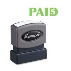 "Xstamper® Pre-Inked Message Stamp, PAID, 1-5/8"" x 1/2"", Light Green"