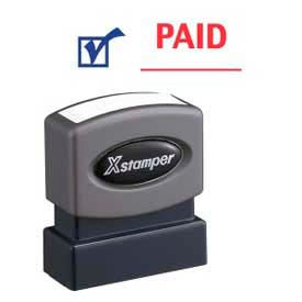 """Xstamper® Pre-Inked Message Stamp, PAID, 1-5/8"""" x 1/2"""", Blue/Red"""