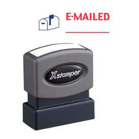 """Xstamper® Pre-Inked Message Stamp, E-MAILED, 1-5/8"""" x 1/2"""", Blue/Red"""