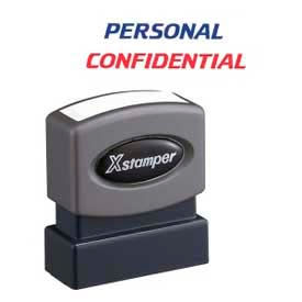 "Xstamper® Pre-Inked Message Stamp / PERSONAL / CONFIDENTIAL / 1-5/8"" x 1/2"" / Blue / Red"