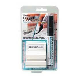 """Xstamper® Secure Stamp & Marker Kit, 1/2"""" x 1-5/8"""", Black"""