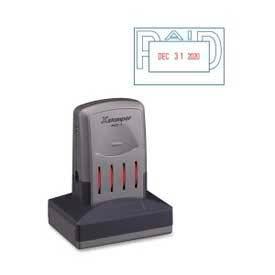 "Xstamper® VersaDater Pre-Inked Message/Date Stamp, PAID, 1-5/16"" x 2-1/8"", Blue/Red"