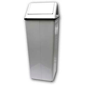 White® Mipro® Swing Top Receptacle - 21 Gallon, White, 1141-1