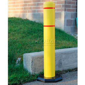 "Innoplast BollardGard Anywhere with 25 lb. Rubber Base, Orange/White Tape, 4"" x 52"", BGAW452OW"