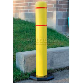 "Innoplast BollardGard Anywhere with 25 lb. Rubber Base, Yellow/White Tape, 7"" x 52"", BGAW752YW"