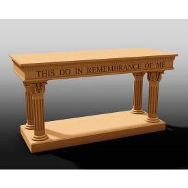 #8500 Series Ornate Open Communion Table, Two Tone Colonial White, Dark Oak Stain