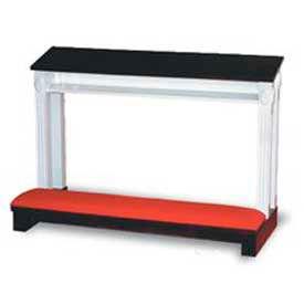 "Double Prayer Desk, 48""W, Two Tone Colonial White, Dark Oak Stain Trim, Red Rose Fabric"