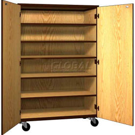 "Mobile Wood General Storage Cabinet, w/Locks, Solid Door, 48""W x 22-1/4""D x 72""H, Natural Oak/Brown"