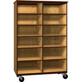 Mobile Wood Cubicle Cabinet, 10 Shelves, Open Front, 48 x 22-1/4 x 72, Maple/Black