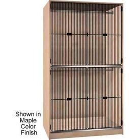 Ironwood 2 Compart. Wardrobe Cabinet Black Grill Door, Maple Color