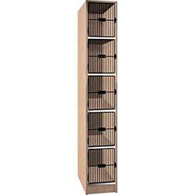 Ironwood 5 Compartment Black Grill Door Storage Locker, Natural Oak Color