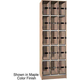 """Ironwood 15 Compartment Black Grill Door 20"""" D Locker, Natural Oak Color"""