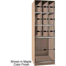"Ironwood 9 Upper, 1 Lower Compartment Black Grill Door 30""D Locker, Natural Oak"