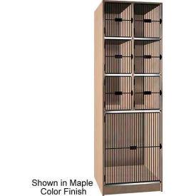 "Ironwood 6 Upper, 1 Lower Compartment Black Grill Door 30"" D Locker,Natural Oak"