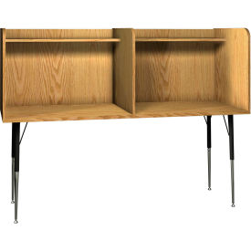"Ironwood Side-by-Side Study Carrel, 70""W x 30""D x 52-3/8""H, Natural Oak"