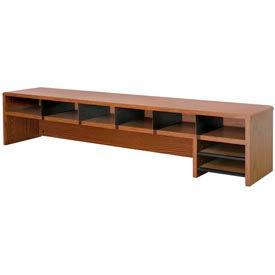 "Desk Top Organizer Low Profile - 58""W x 12""D x 12""H Medium Oak"