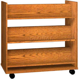"Book Truck - 6 Shelves - 42""W x 18""D x 42-1/2""H Medium Oak"