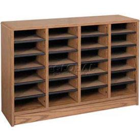"""Literature Organizer 24 Pocket - 40""""W x 12-1/8""""D x 26-1/2""""H Medium Oak"""