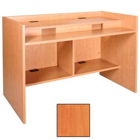"""60"""" x 39"""" Patron Access Station - 60""""W x 30""""D x 46-1/8""""H Oiled Cherry"""