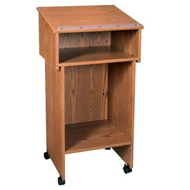 "Two Section Stand Up Podium / Lectern - 24""W x 19-3 / 4""D x 43-1 / 2""H Medium Oak"