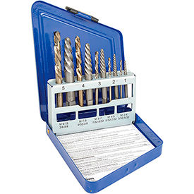 10-pc Spiral Extractor & Drill Bit Set in Metal Index