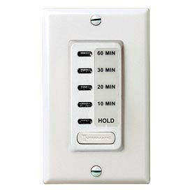 Intermatic EI210W Electronic Auto-Off Timer 10/20/30/60 Minute With HOLD, White