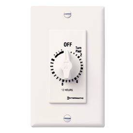 Intermatic FD12HWC 12 Hour 125-277V SPST Decorator Series Spring Wound Timer, White