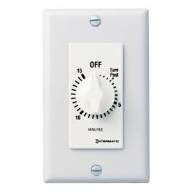 Intermatic FD15MWC 15 Minute 125-277V SPST Decorator Series Spring Wound Timer, White