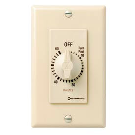 Intermatic FD60MC 60 Minute 125-277V SPST Decorator Series Spring Wound Timer, Ivory