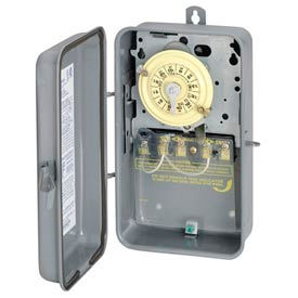 Intermatic T104R NEMA 3R-24 Hour Dial Time Switch In Metal Enclosure, 208-277V, DPST, Gray Case