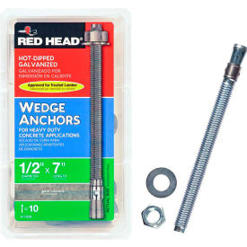 """ITW Red Head 50506 -1/2"""" x 7"""" Wedge Anchor - Steel - Hot Dip Galvanized - Made in USA"""