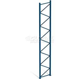 "Interlake Mecalux Pallet Rack Tear Drop Upright Frame, Bolted, 144""H x 42""D, 26400 Lbs. Cap., Blue"