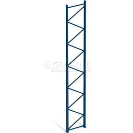 "Interlake Mecalux Pallet Rack Tear Drop Upright Frame, Bolted, 144""H x 48""D, 26400 Lbs. Cap., Blue"