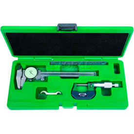 INSIZE 3 Piece Measuring Tool Set-Dial Caliper, Micrometer & Steel Rule, 5003-1 by