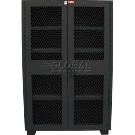 """Jamco Heavy Duty Cabinet Clearview Doors Four Shelves, Welded 60""""W x 24""""D x 78""""H Black"""