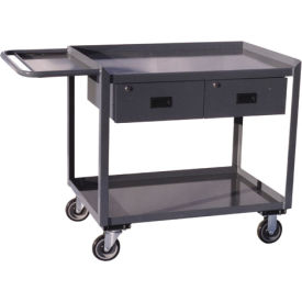 Two Drawer Mobile Service Bench with Tool Shelf - 24 x 48
