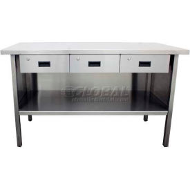 """Jamco VO372 72""""W x 30""""D Stainless Steel Work Bench with Drawers"""